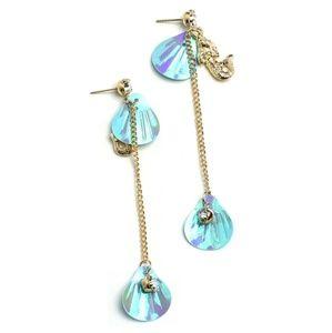 Earrings w/🧜, gems & faux 🐚